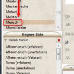 Gegner-Verwaltung: Stichwort-Filter