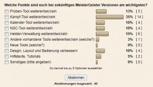 DSA MeisterGeister Umfrage zur Entwicklung (Stand 20.04.2011)