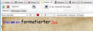 Notiz-Tool: Formatierter Text